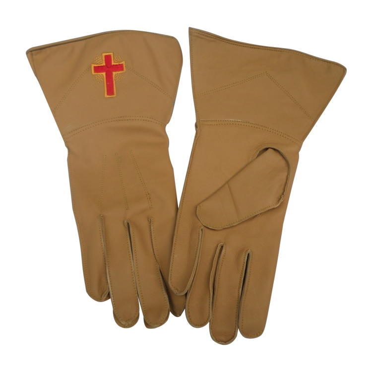 Masonic Gloves Brown Red Cross