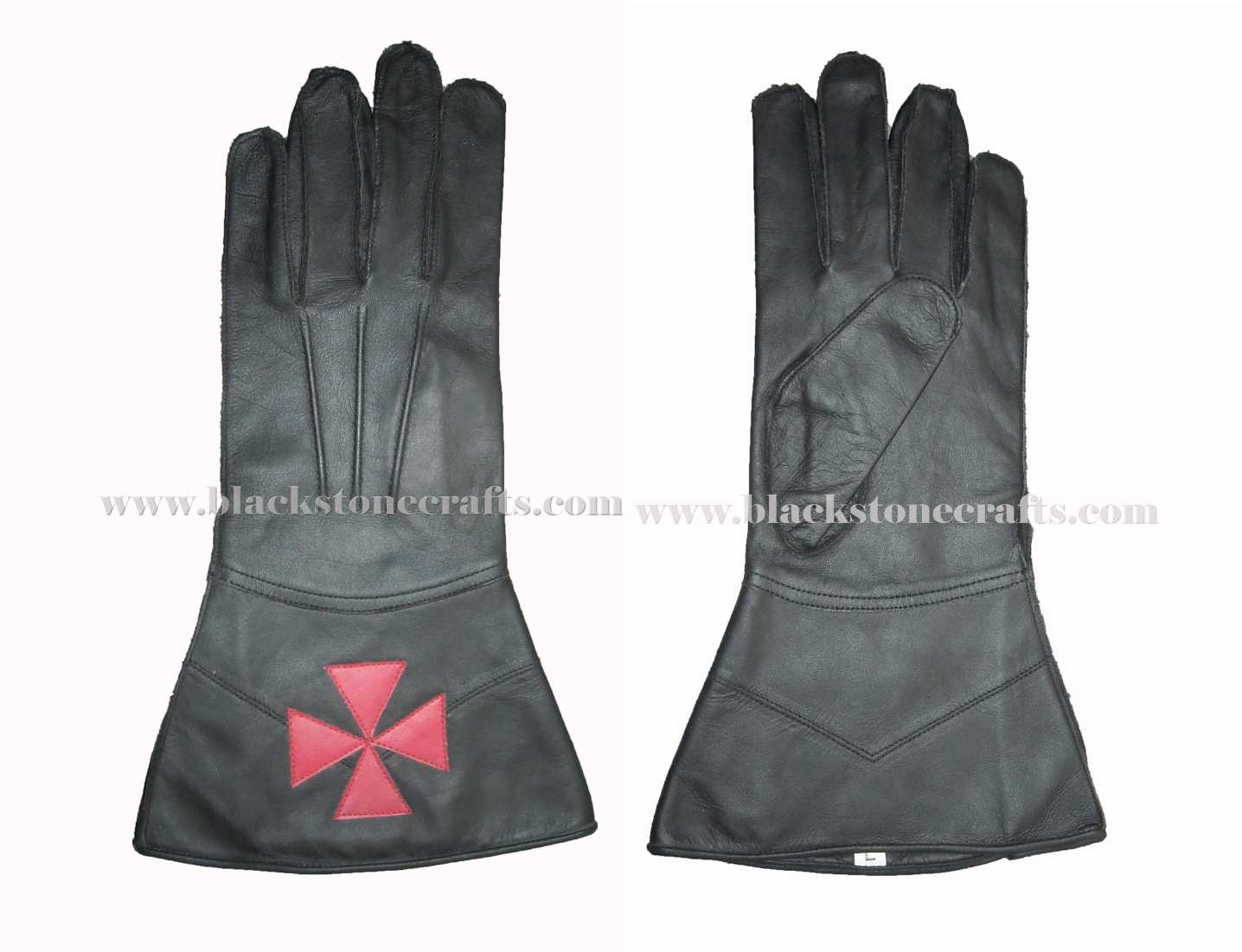 Black Leather Masonic Gloves