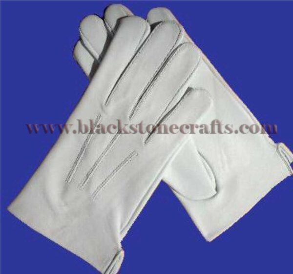 White Leather Masonic Gloves