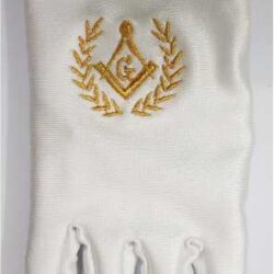 White Lycra Masonic Gloves