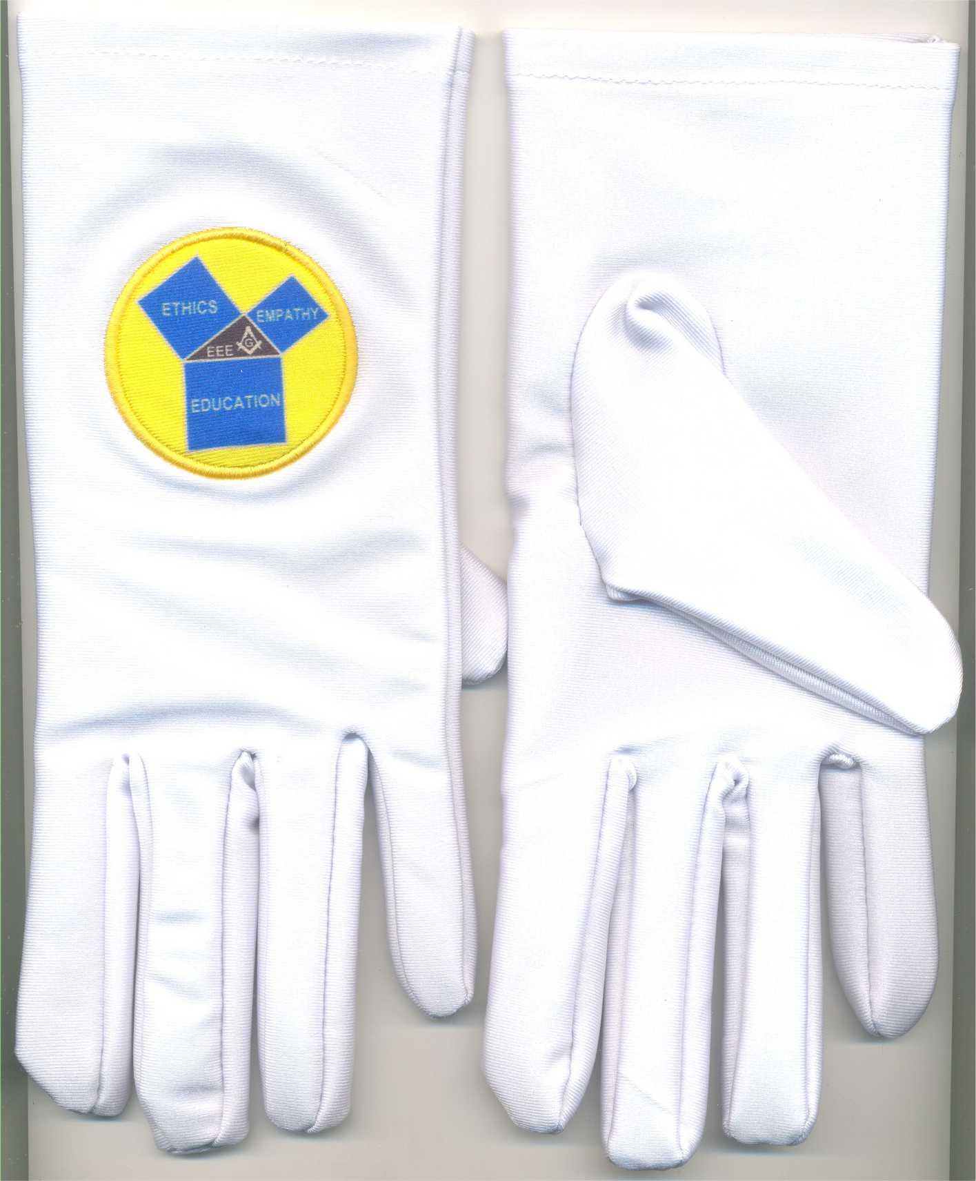 White Lycra Masonic Gloves